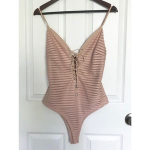 Blush Pink Striped Lace Up Bodysuit